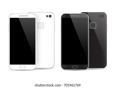 Modern black and white smartphone isolated. Front and back of Vector smartphone illustration. Cell phone mockup back view.