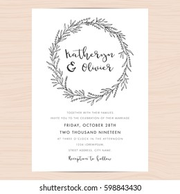 Modern black and white wedding invitation card template decorate with hand drawn floral wreath. Vector illustration.