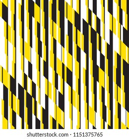 Modern black and yellow striped seamless pattern for background, wrapping paper, fabric, surface design. Sport active geometric repeatable motif. Stock vector illustration.