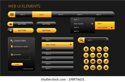 modern black and yellow web ui elements, vector illustration, eps 10 with transparency