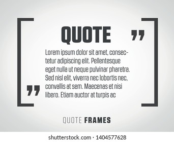Modern block quote and pull quote line frame design elements.