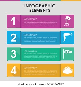 Modern blowing infographic template. infographic design with blowing icons includes wind cone, hair dryer. can be used for presentation, diagram, annual report, web design.