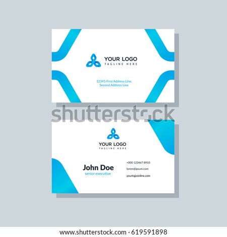 Modern blue business card template flat stock vector royalty free modern blue business card template in flat design abstract background personal plain design with cheaphphosting Gallery