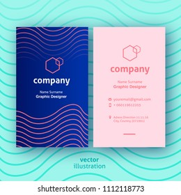 Modern blue business cards with rose and background with cyan colored lines