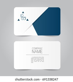 Modern blue business name card template design.