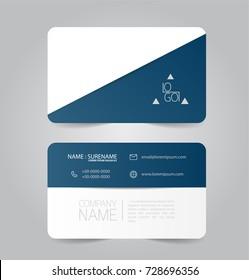 Modern blue business name card template design.