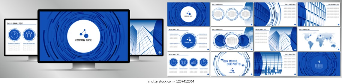 Modern blue business vector presentation template - EPS10 - hd format: 1920x1080 px.