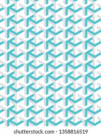 modern blue and cream geometric repeating pattern design with hexagonal 3d effect for textile, fabric, wallpaper, backgrounds and design templates. pattern swatch at eps file.