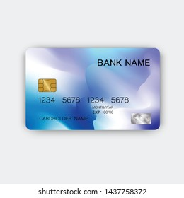 Modern blue credit card design. With inspiration from abstract. On white background. Glossy plastic style.