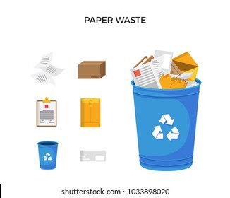 Modern Blue Recycle Paper Waste Garbage Bin And Trash Object Illustration Set, Suitable For Illustration, Book Graphics, Icons, Game Asset, And Other Recycle Related Activities.