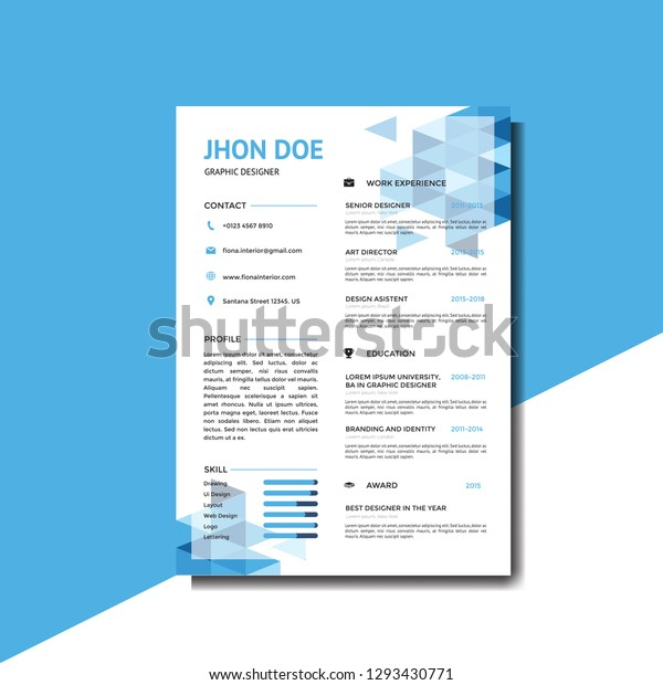 Modern Blue Resume Background Template Stock Vector Royalty Free 1293430771
