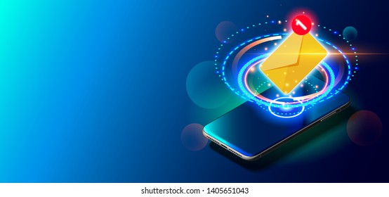 Modern Blue Smart Phone on Smooth Dark Blue Surface in Perspective View. Realistic Vector Illustration of Smartphone. New Shiny Mobile Cellphone with Reflection on the Screen.