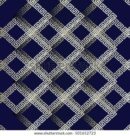 Modern Blue Vector Seamless Pattern Background Wallpaper Illustration With Vintage Greek Key And Geometric Decorative Abstract