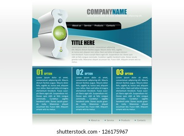 Modern blue vector website template for computer company