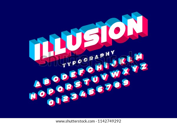 Modern Bold 3d Font Illusion Alphabet Stock Vector (Royalty