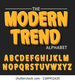 Modern bold font and alphabet, Font with shadow. 3 dimension typography design vector