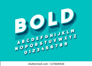 Modern bold font design, alphabet letters and numbers vector illustration