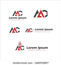 Modern bold logo for letter A and C combination in red and black color medical, infrastructure or  real estate