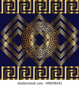 Modern border. Geometric vector seamless pattern background wallpaper illustration with gold  3d  vintage greek key, squares, circles, rhombus, cages ,ornaments.3d decor  with shadows and highlights