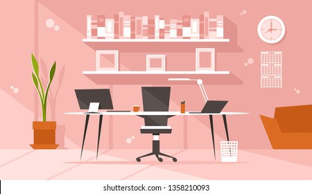 Modern boss workplace. Interior of a large bright office with a table, office chair, PC and laptop