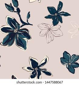 Modern botanical Floral Pattern in vector. Tender blue green flowers on pink background. Floral botany art