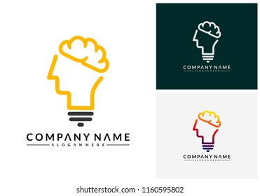 Modern Brain Bulb logo concept, Intelligence Logo template, Smart People logo, Robotic Brain logo designs vector