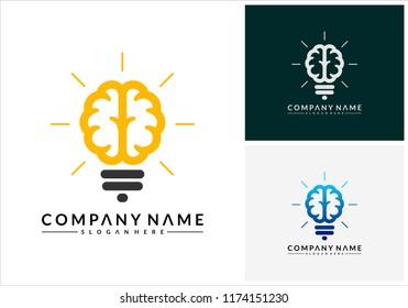 Modern Brain Bulb logo concept, Intelligence Logo template, Smart People logo, Robotic Brain logo designs vector