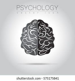 Modern Brain Sign logo of Psychology. Human. Creative style. Icon in vector. Black isolated on grey background. Symbol for web, print, logotype. Education icon sign