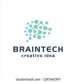 modern braintech creative idea logo