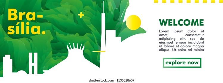 Modern Brazil Brasilia skyline abstract gradient website banner art. Travel guide cover city vector illustration