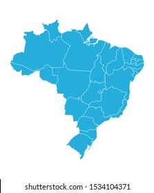 Modern brazil country map with boundaries vector illustration. Blue color.