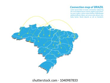 Modern of brazil Map connections network design, Best Internet Concept of brazil map business from concepts series, map point and line composition. Infographic map. Vector Illustration.