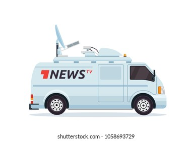 Modern Breaking News Mobile Broadcasting Vehicle Illustration
