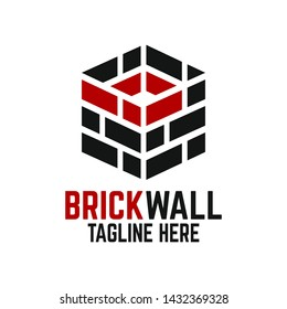Modern brick wall and letter B logo