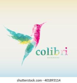 Modern bright colored triangular hummingbirds. Vector logo