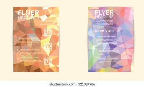 modern brochure cover and letterhead template low polygon geometric triangular pattern design for print,in A4 size