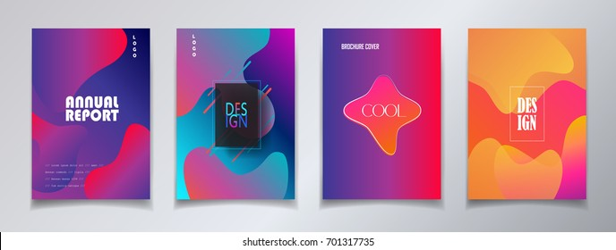 Modern brochure covers set, futuristic design. Abstract Diffuse colored spots background. Vector template minimalist poster, pop art flyer, hipster style, typography wallpaper Art, print, web banner.