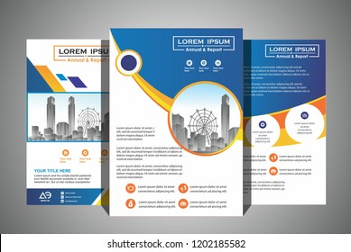 Modern brochure flyer design template. City background business book leaflet cover design in A4 magazines, posters, booklets, wallpaper, banners, corporate presentation.