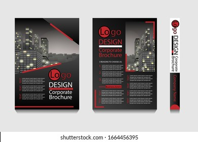 Modern brochure template with layout space for photo or illustration background. Creative design for book cover, flyer, poster, corporate report, company advertisment or real estate agency web page.