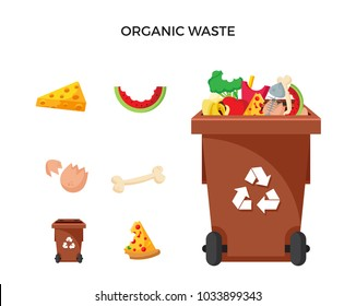 Modern Brown Recycle Organic Waste Garbage Bin And Trash Object Illustration Set, Suitable For Illustration, Book Graphics, Icons, Game Asset, And Other Recycle Related Activities.
