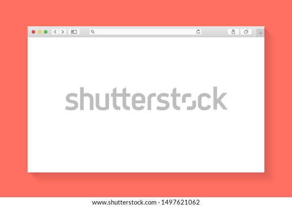 Modern browser window design isolated on living coral background. Web window screen mockup. Internet empty page concept with shadow. Vector illustration