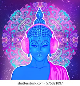 Modern Buddha listening to the music in headphones over colorful mandala background. Vector illustration. Vintage psychedelic composition. Indian, Buddhism, trance music. Tattoo, yoga, spirituality.