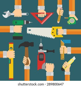 Modern Builders flat background with hand. Vector illustration