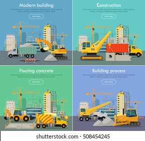 Modern building. Construction. Pouring concrete. Building process. Construction of residential houses banners set. Big building dormitory area. Icons of construction machinery. Vector illustration