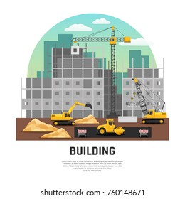 Modern building construction site with cranes and excavator machinery at work flat half-rond composition vector illustration