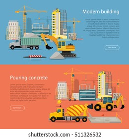 Modern Building. Process of Pouring Concrete. Vector banner construction and concreting. Buildings, cranes, excavator, concrete mixer, tractor illustration. Architecture poster for landing page design