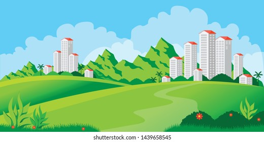 modern building society in mountains