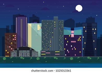 Modern buildings, City skyline of Fort Worth at nighttime