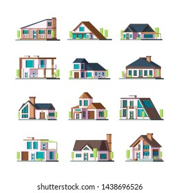 Modern buildings. Living houses villa townhouse suburban facade constructions tower vector flat illustrations. Building facade house, apartment construction townhouse