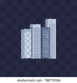 Modern buildings skyscrapers. 8-bit. Pixel art style. Isolated abstract vector illustrations.